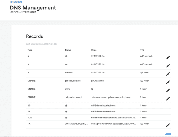 Domain DNS settings