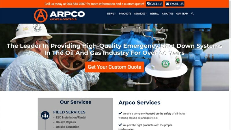 prowebsitecreators Arpco Valves Controls website portfolio