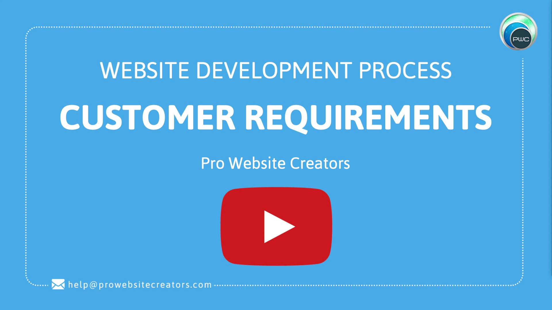 Pro Website Creators Website Development Process Customer Requirements with play button