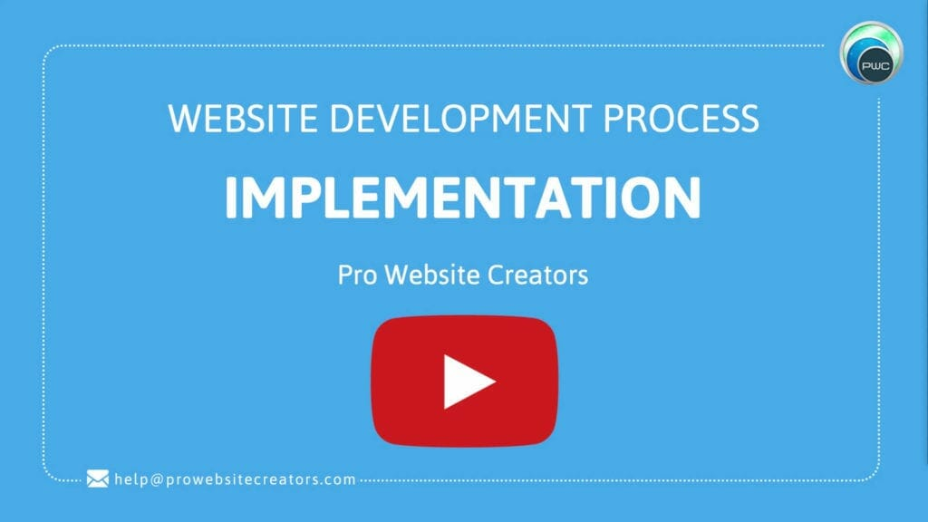 Pro Website Creators Website Development Process Implementation with play button
