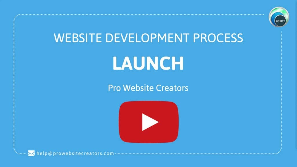 Pro Website Creators Website Development Process Launch with play button
