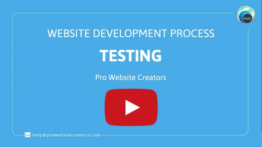 Pro Website Creators Website Development Process Testing with play button