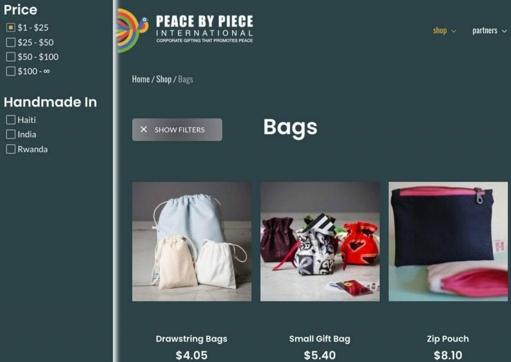 Peace by Piece International Filtering Example Display